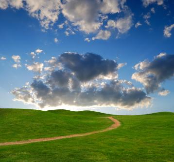 path between green hills